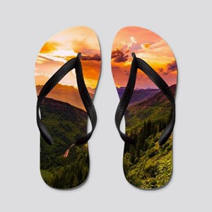 Beautiful Sunset Mountains Valley Lands Flip Flops